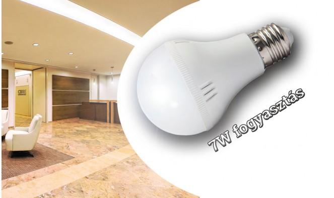 7W erős fényű E27 LED izzó